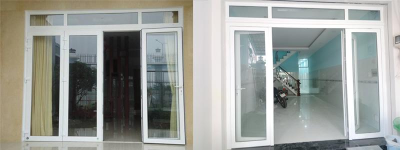 Hình ảnh vài bộ cửa đi 4 cánh nhựa lõi thép uPVC