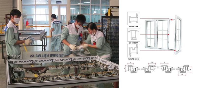 Hình ảnh sản xuất cửa nhựa lõi thép Eurowindow