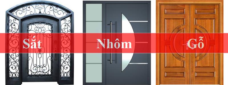 Hình ảnh cửa được làm từ 3 chất liệu sắt nhôm gỗ