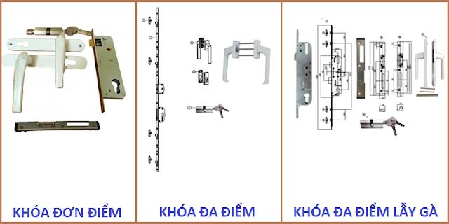 Hình ảnh một số loại khóa dùng cho cửa nhựa lõi thép