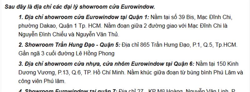 Những địa chỉ mà bạn có thể mua cửa nhựa lõi thép Eurowindow chính hãng