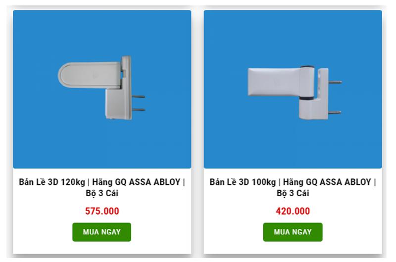 Giá bán bản lề 3D ở một cửa hàng