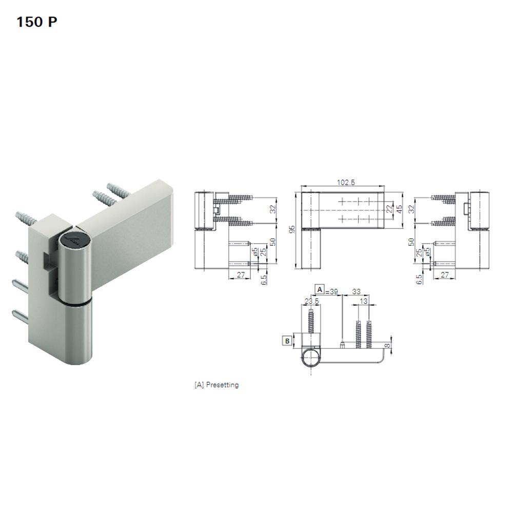Thông số kỹ thuật bản lề 3D Roto 100kg 150P