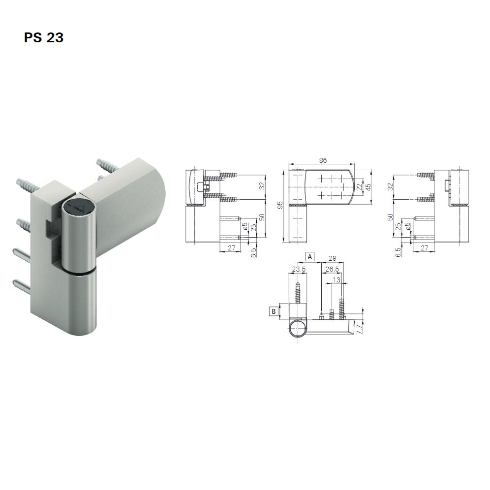 Thông số bản lề 3D Roto 80kg PS23