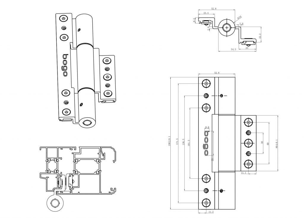 Thông số kỹ thuật bản lề 4D nhôm hệ rãnh C