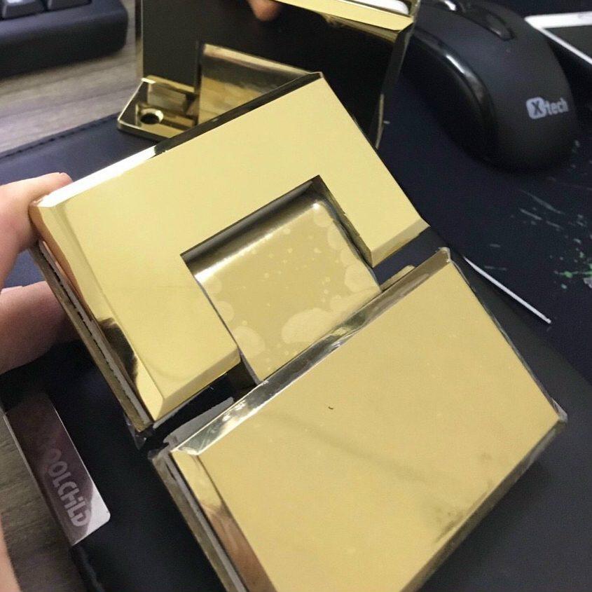 Bản lề kính kính VVP 180 độ màu vàng