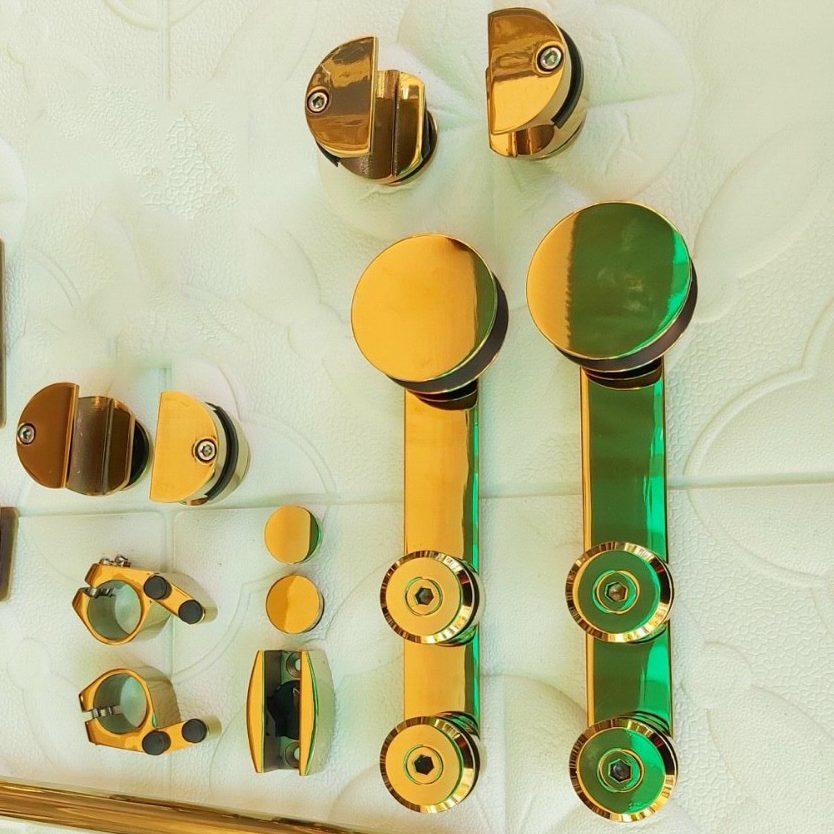 Bộ phụ kiện kính lùa đơn phi 25 VVP màu vàng