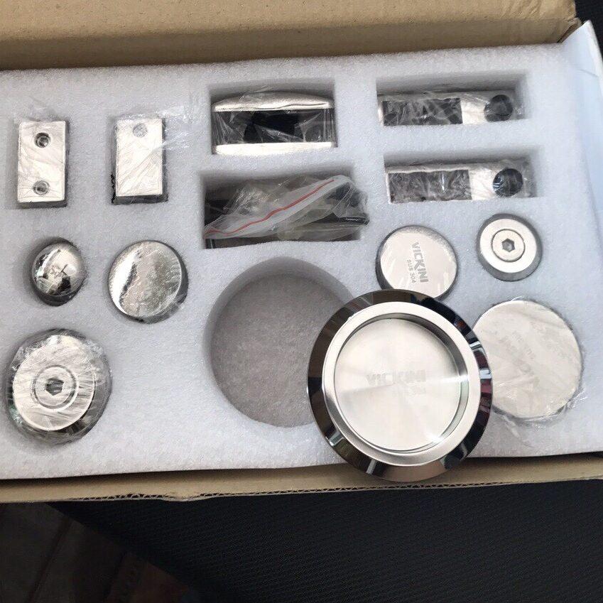 Bộ phụ kiện kính lùa treo ray 10x30 VVP trắng bóng